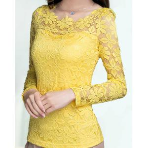 Fashionable Round Neck Lace Crochet Flowers Long Sleeve Women's T-Shirt - Yellow - Xl