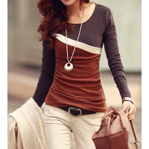 Stylish Scoop Neck Color Block Long Sleeve Women's T-Shirt - Dun - L