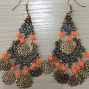 Pair of Bohemian Style Flower Drop Earrings - COLOR ASSORTED