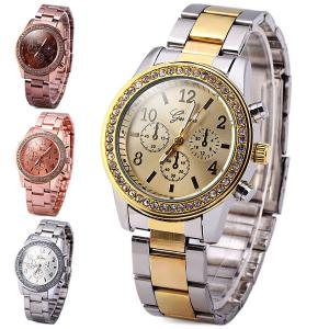Geneva Women Quartz Watch Diamond Round Dial Steel Strap