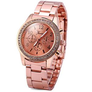 Geneva Women Quartz Watch Diamond Round Dial Steel Strap - Rose Gold