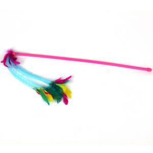 Funny Cat Playing Plastic Stick Pet Toy Pole with Colorful Feather - Red - S
