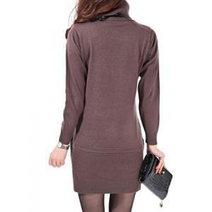 Stylish Turtleneck Solid Color Long Sleeve Knitted Dress For Women -