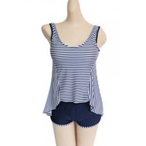 Stylish Scoop Neck Striped Tank Top + Elastic Waist Shorts Women's Twinset -