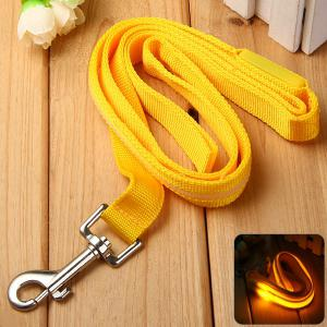 Pet Dog LED Flashing Safety Leash with Nylon Material Traction Belt Rope - Yellow - S
