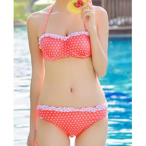 Cute Halter Push-Up Polka Dot Flounced Three-Piece Women's Swimsuit