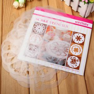 6pcs / Pack Cake Stencil Template Mould Birthday Cake Decoration - WHITE