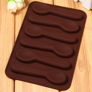 Spoon Style Silicone Embossing Fondant Decoration Mould Cake Decorating Sugar Arts Mold - BROWN