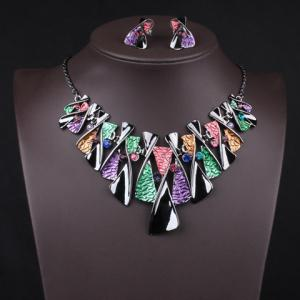 Statement X-Shaped Pendant Necklace and Earrings - COLORMIX