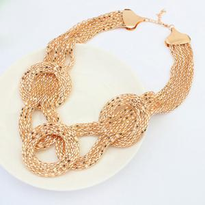 Statement Round Gold Plated Necklace - GOLDEN