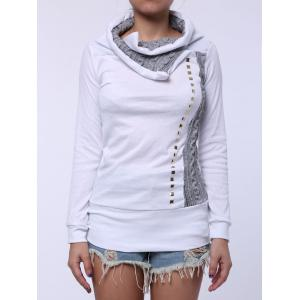 Stylish Turn-Down Collar Rivet Embellished Long Sleeve T-Shirt For Women - White - L