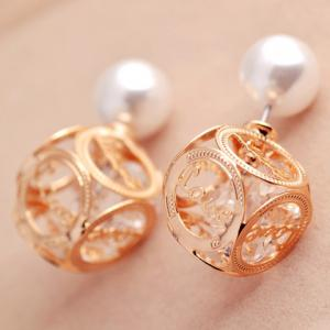Pair of Faux Pearl Openwork Love Design Earrings - CHAMPAGNE GOLD