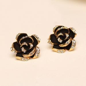 Pair of Chic Women's Rhinestone Color Glazed Rose Design Earrings -