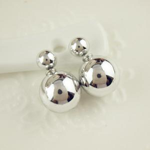 Pair of Ball Beads Stud Earrings - SILVER