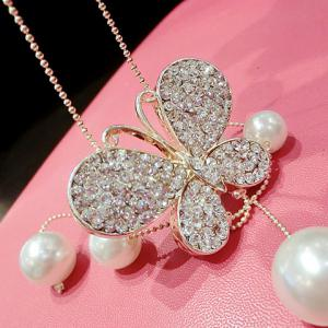 Chic Women's Rhinestone Faux Pearl Butterfly Pendant Design Sweater Chain Necklace -