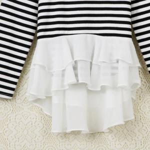Stylish Scoop Neck Striped Chiffon Splicing Long Sleeve Women's T-Shirt - STRIPE S