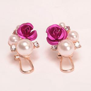 Faux Pearl Rose Stud Earrings - ROSE MADDER