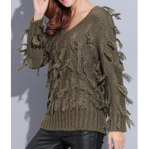 Street Style V-Neck Pure Color Mohair Long Sleeve Sweater For Women -