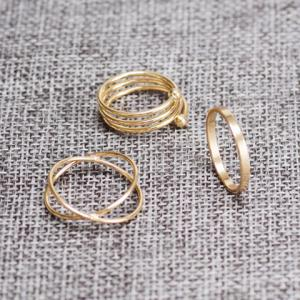 6PCS of Chic Women's Round Solid Color Rings - GOLDEN ONE-SIZE