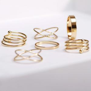 6PCS of Chic Women's Round Solid Color Rings - Golden - One-size