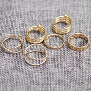 6PCS of Chic Women's Round Solid Color Rings -