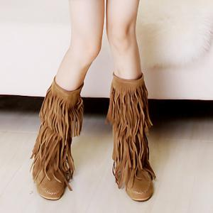 Sweet Round Toe and Fringe Design Women's Mid-Calf Boots -