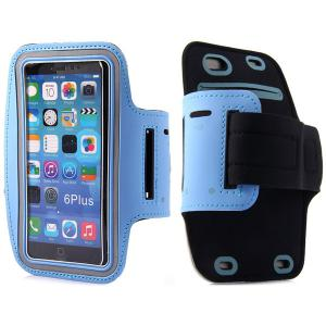 Dual Holes Sports Soft Tactility Durable Armband Holder Pouch Lycra Protective Case for iPhone 6 Plus - 5.5 inches -