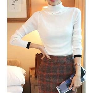 Elegant Turtleneck Solid Color Long Sleeves Sweater For Women