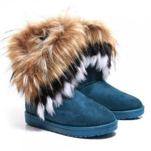 Faux Fur Snow Boots - Blue - 40