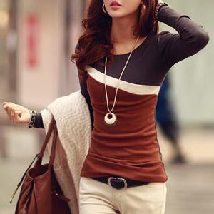 Stylish Scoop Neck Color Block Long Sleeve Women's T-Shirt - DUN L