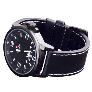 Naviforce 9028 Military Leather Band Quartz Analog Watch Japan Movt Day Date Water Resistant for Men -