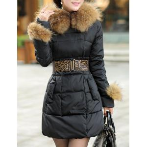 Stylish Hooded Solid Color Black Coat For Women