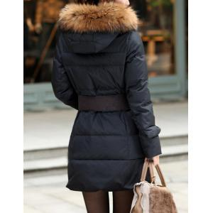 Stylish Hooded Solid Color Black Coat For Women -
