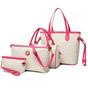 Geo Print Handbag 4Pc Set - White