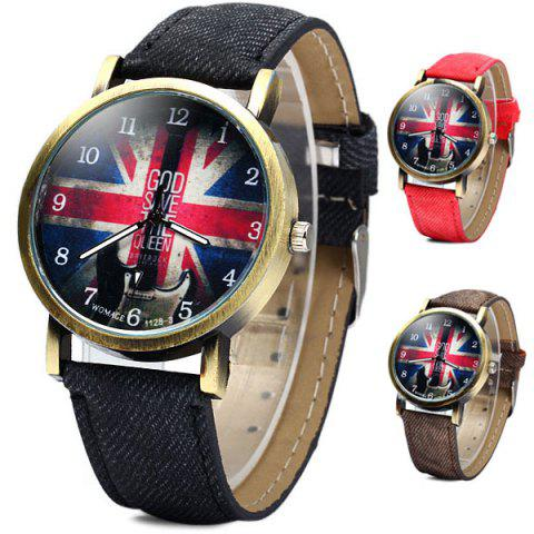 Buy WoMaGe 1128-3 British Flag Pattern Female Quartz Watch Round Dial Leather Band