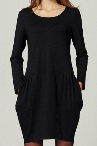 Casual Scoop Neck Solid Color Loose-Fitting Long Sleeve Women's Dress