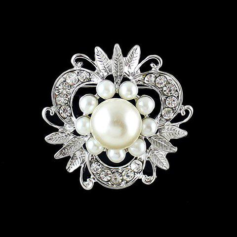 Sale Fashionable Women's Rhinestone Faux Pearl Openwork Flower Brooch