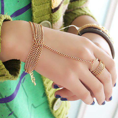 Trendy Gold Plated Layered Link Design Bracelet With Ring - GOLDEN  Mobile