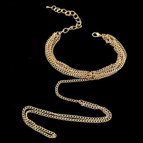 Unique Gold Plated Layered Link Design Bracelet With Ring - GOLDEN  Mobile