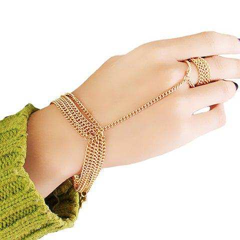 New Gold Plated Layered Link Design Bracelet With Ring - GOLDEN  Mobile