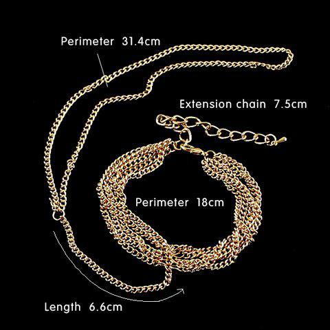 Latest Gold Plated Layered Link Design Bracelet With Ring - GOLDEN  Mobile
