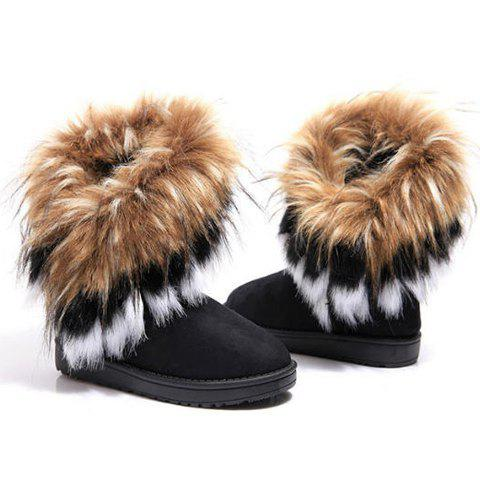Sale Faux Fur Snow Boots - 39 BLACK Mobile