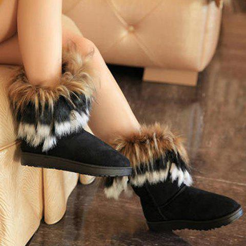 Cheap Faux Fur Snow Boots - 39 BLACK Mobile