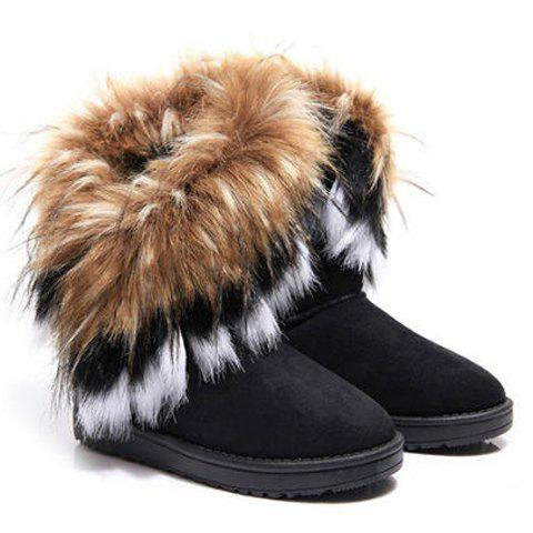Fashion Faux Fur Snow Boots - 39 BLACK Mobile