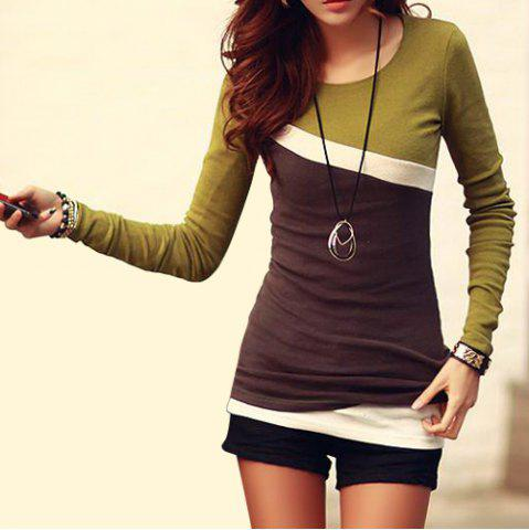 Stylish Scoop Neck Color Block Long Sleeve Women's T-Shirt - GREEN L
