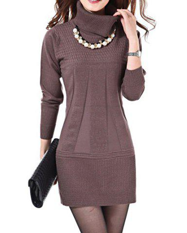 Latest Stylish Turtleneck Solid Color Long Sleeve Knitted Dress For Women