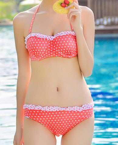 Trendy Cute Halter Push-Up Polka Dot Flounced Three-Piece Women's Swimsuit