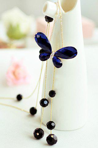 Buy Chic Women's Faux Crystal Butterfly Pendant Sweater Chain Necklace