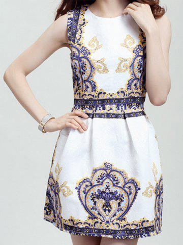 Online Retro Style Round Collar Sleeveless Printed Women's Dress