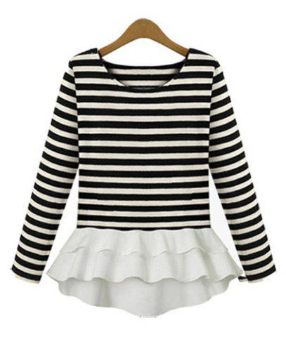 Trendy Stylish Scoop Neck Striped Chiffon Splicing Long Sleeve Women's T-Shirt STRIPE S